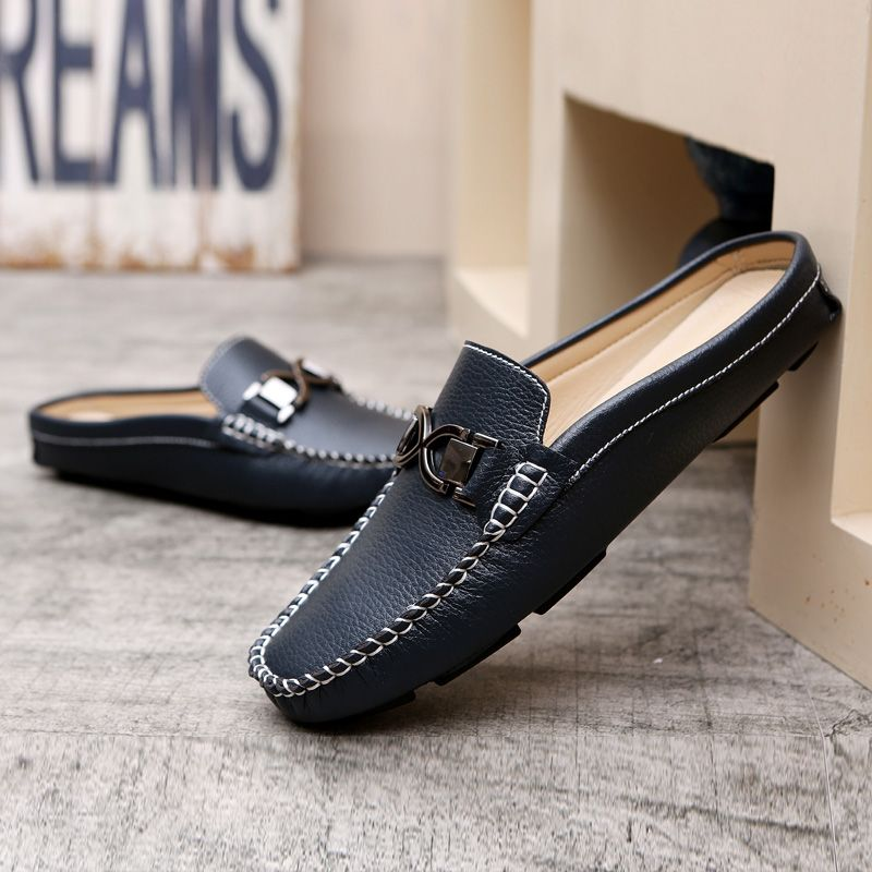 f0d4a446c8e3 US  25 Urban Men Driving Shoes Luxury Brand Shoes Summer Men Shoes Backless  Horsebit Loafers Open Backs Shoes Without Back