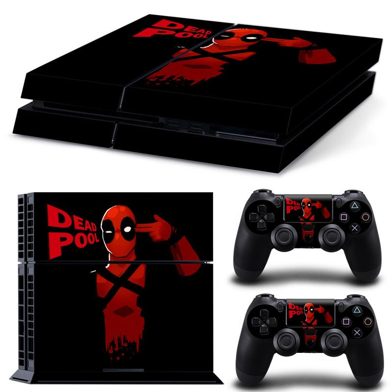Dead Pool Vinyl Decal Skin Sticker For Sony PlayStation 4 Console +2 PCS Controller Decor Decal Skin Stickers