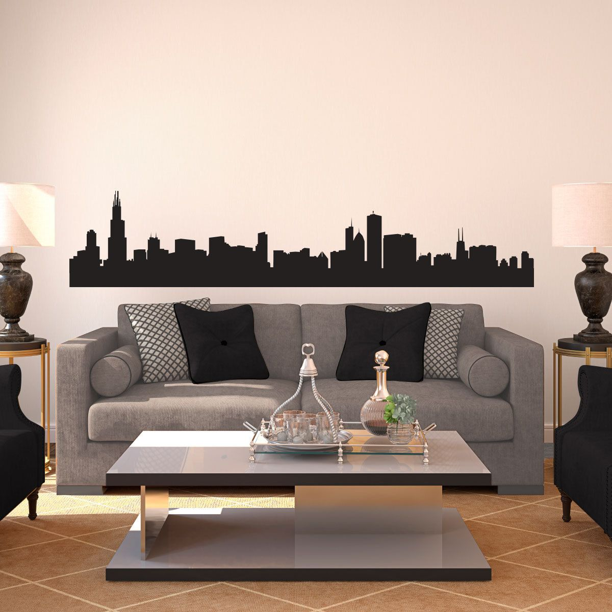 Chicago Skyline Silhouette Wall Decal Custom Vinyl By Danadecals - Custom vinyl stickers chicago