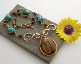 Alkebulan  Bronze Viking knit chain with natural red agate