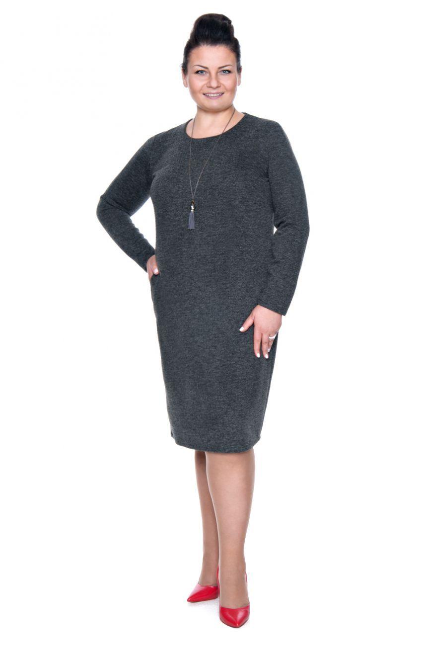 cde9ee6674 Ciepła dzianinowa sukienka z kieszeniami - Modne Duże Rozmiary