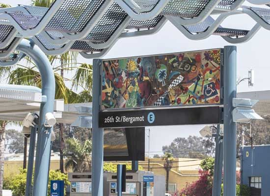 The new light rail stop at Bergamot Station may threaten the galleries that thrive behind it Photo by Ted Soqui