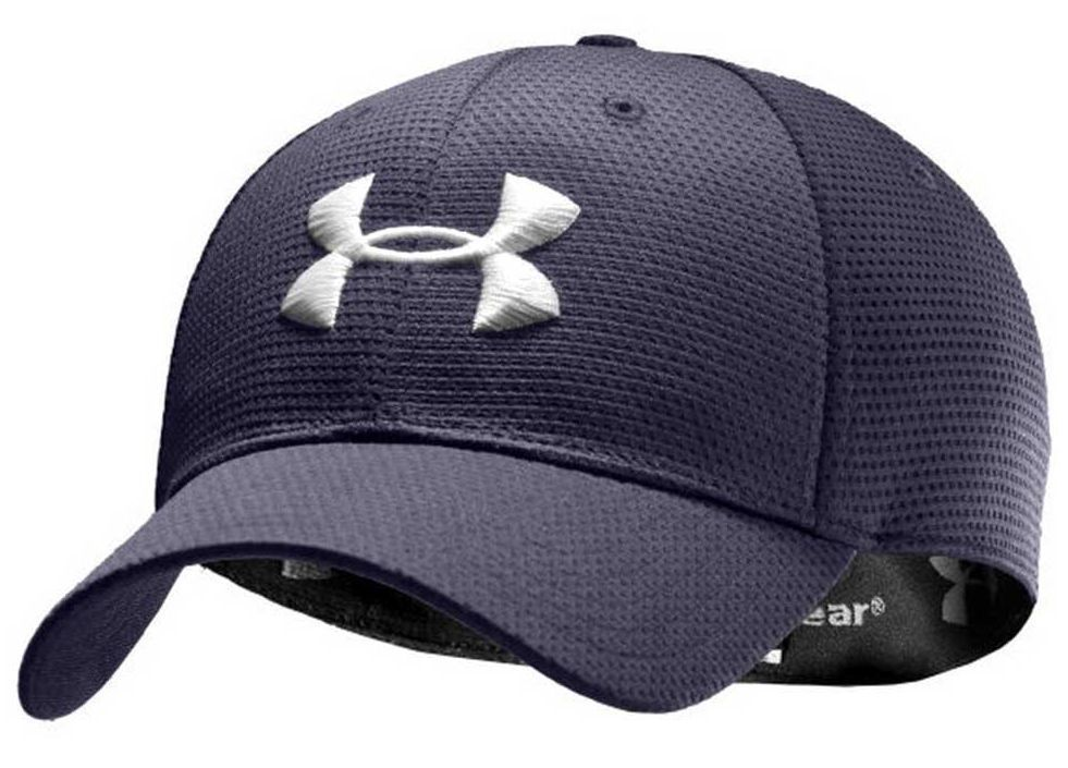b3a2100b Under Armour Logo Hat Mens Fitted Cap Stretch Fit Baseball Caps Blue ...