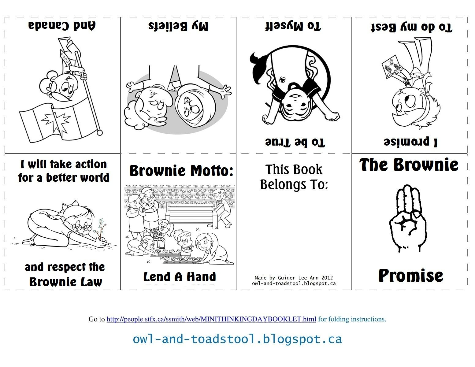 Canadian Brownie Promise mini colouring book owl-and
