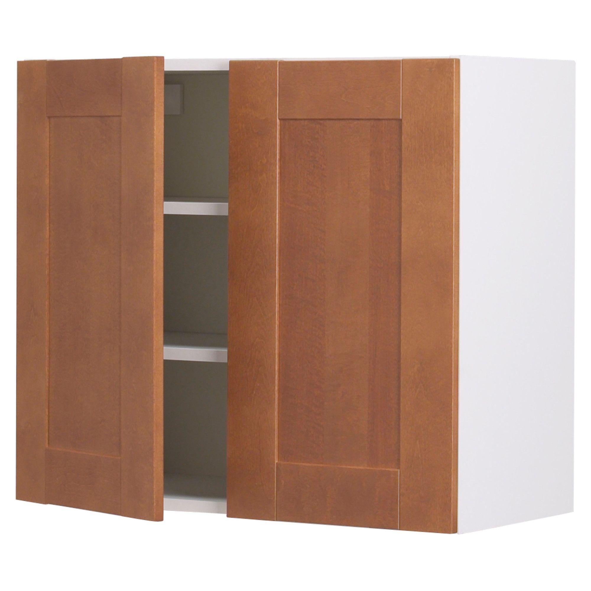 akurum wall cabinet with 2 doors white Ädel medium brown 36x39