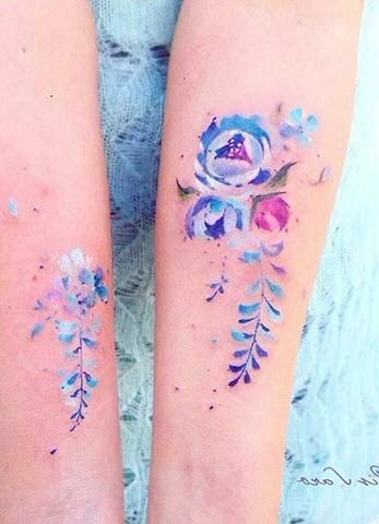 small watercolor flower forearm women 39 s tattoo ideas girly unique pretty feminine colorful. Black Bedroom Furniture Sets. Home Design Ideas