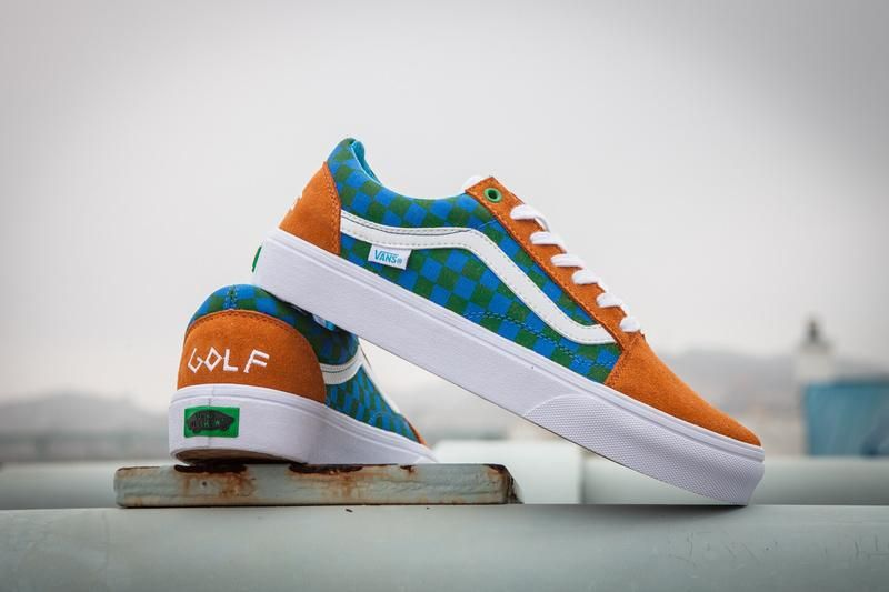 bde3e67d23c9 Vans GOLF WANG Old Skool Pro Classic Tan True White Blue Womens Shoes  Vans