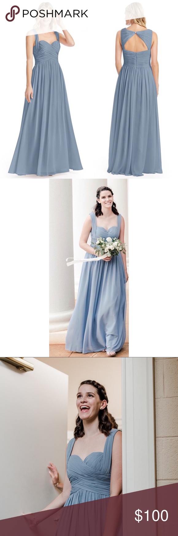 dd50cdd8645 Azazie Cameron Bridesmaid Dress Dusty Blue Worn once   completely  unaltered! Size A8 in Dusty blue. Just needs to be dry cleaned! Azazie  Dresses Wedding