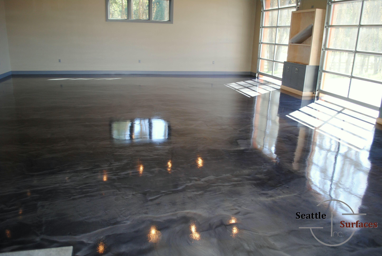 Designer metallic epoxy floor for 3 car detached garage Urethane