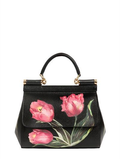 DOLCE   GABBANA - SMALL SICILY TULIP PRINTED DAUPHINE BAG - BLACK PINK 9a9112715594d