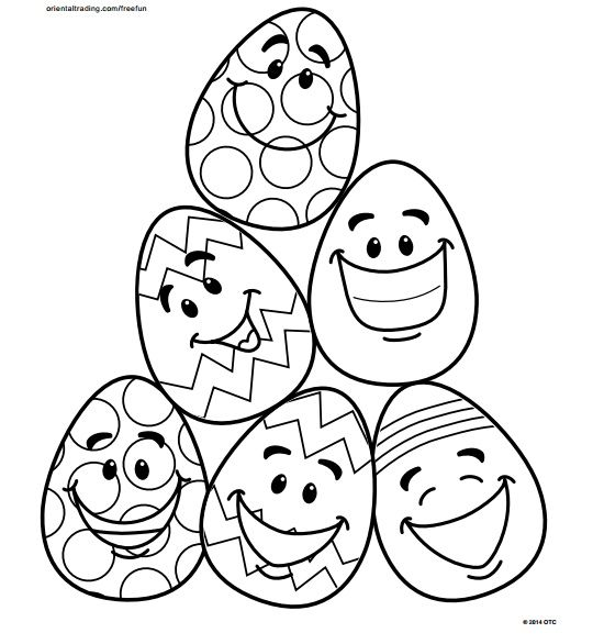 5 Easy Easter Egg Coloring Pages