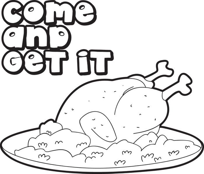 FREE Printable Cooked Thanksgiving Turkey Coloring Page For Kids