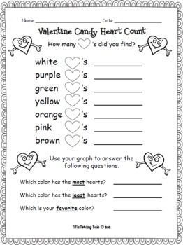 Valentine Candy Heart Count Valentines Day  Count Math and School