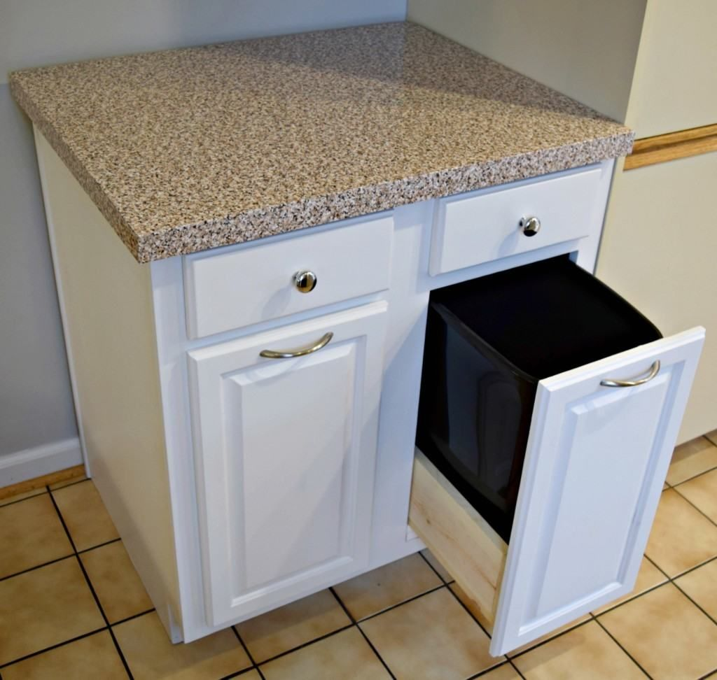 Countertop Trash Chute Diy Pull Out Trash Can Cabinet Tutorial Home Remodeling