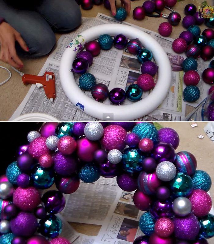 Simple DIY ornament wreath Christmas ornament wreath