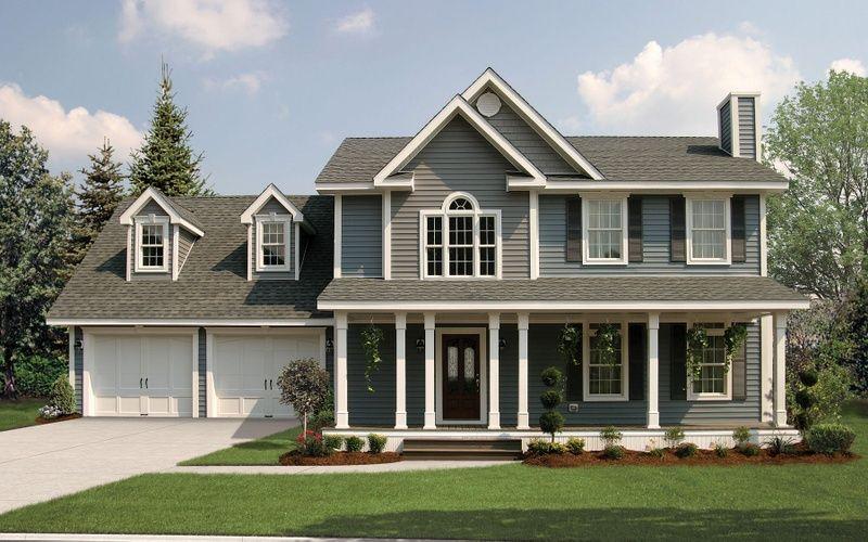 Bridgewater TwoStory Modular Home Elevation with2Car