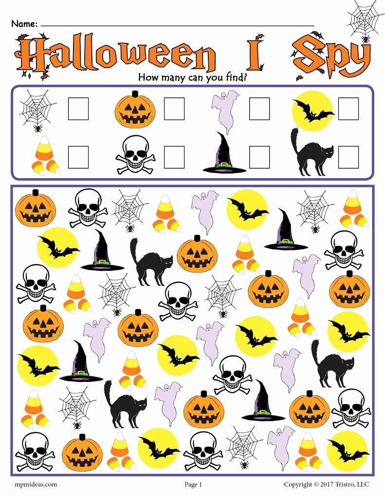 Halloween Counting Worksheets For Preschoolers Lovely Halloween I Spy Printable Halloween Counting Worksheet Halloween Papperspyssel Pyssel Rymden [ 1024 x 791 Pixel ]