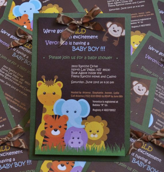 Dozen/12 SafariJungle invitationsBaby shower by EverydaysBeautiful, $29.50