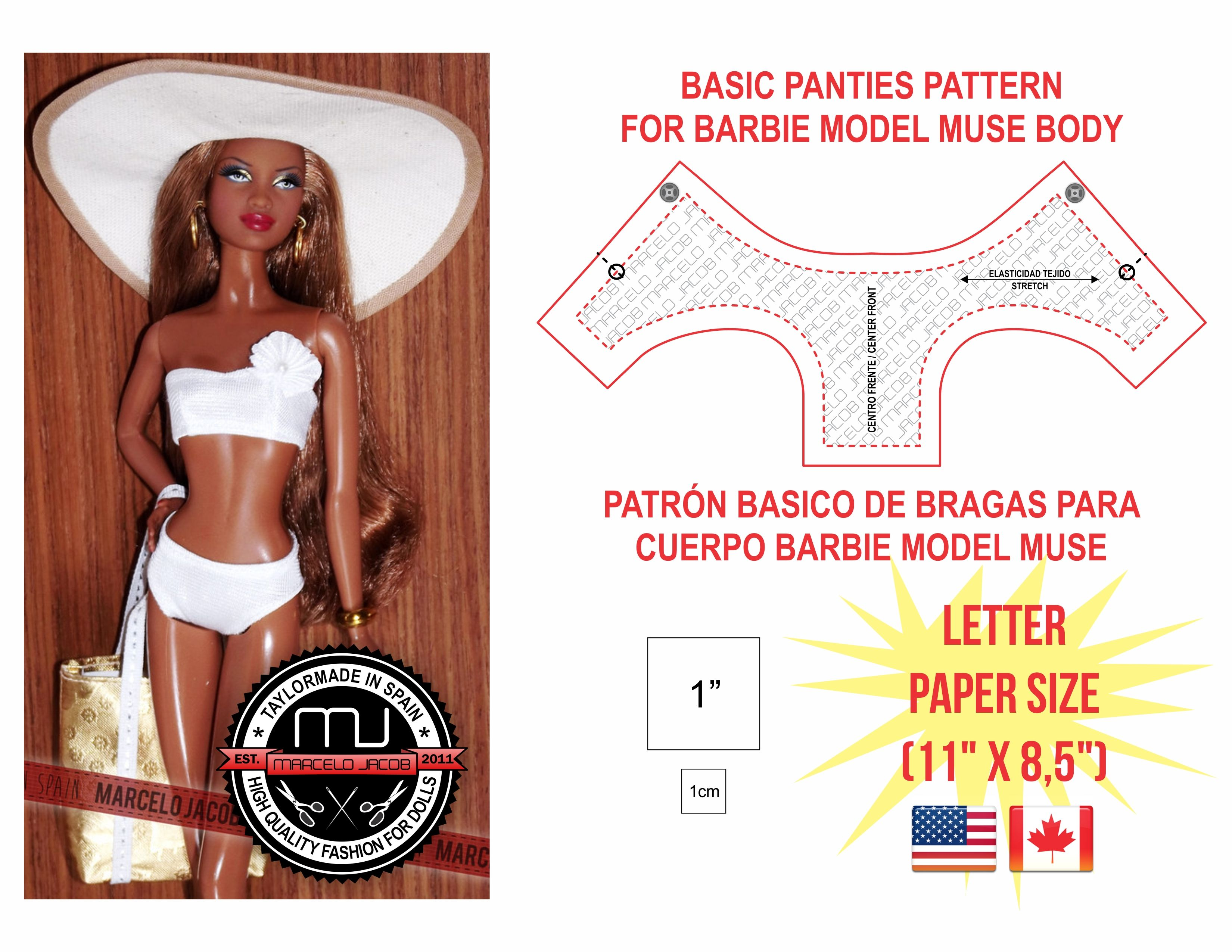 91c30ce28a Prinable pattern of panties for Barbie Model Muse
