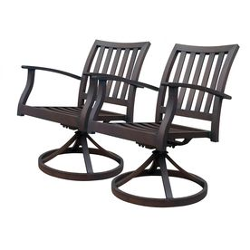Awesome Allen + Roth Set Of 2 Gatewood Brown Slat Seat Aluminum Swivel Rocker Patio  Dining Chairs