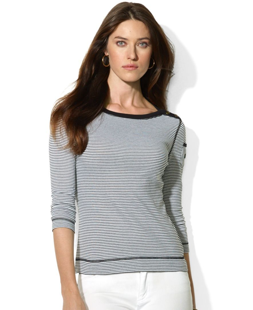 Lauren Ralph Lauren Petite Three-Quarter-Sleeve Striped Boat-Neck Top