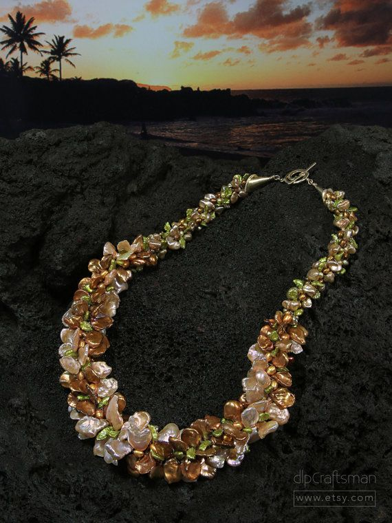Statement LeiStyle Pearl Necklace Keshi Pearl by dlpCraftsman