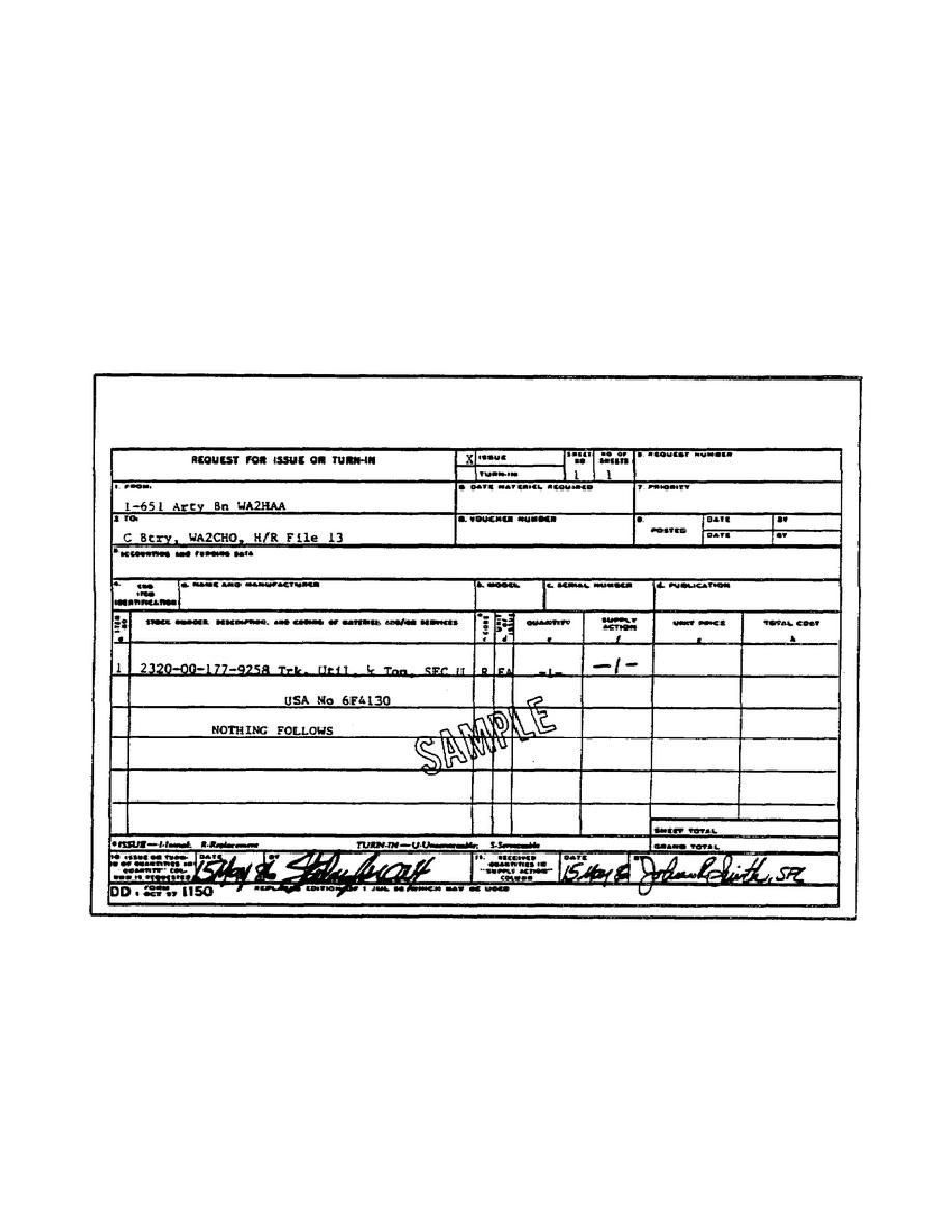 Da Form 3161 Fillable Figure 43 Dd Form 1150 Request For Issue Or Turn In Cover Sheet Template Fax Cover Sheet Job Application Form