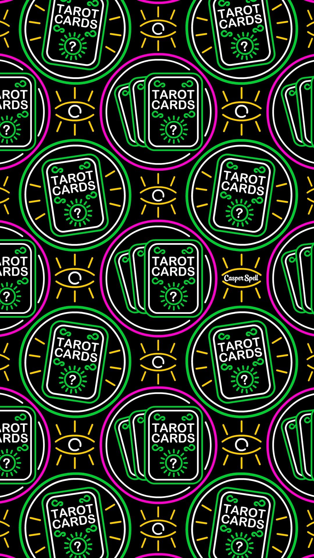 Tarot readings reader psychic medium Neon fortune teller gypsy repeat pattern patterns wallpaper background surface design illustration art drawing witch ...