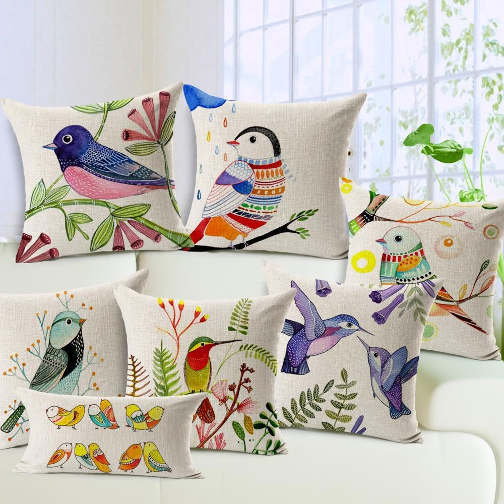 Free Shipping Hand Painted Flowers And Birds Cotton Linen Pillow Case Sofa Home Decor Throw Cushion
