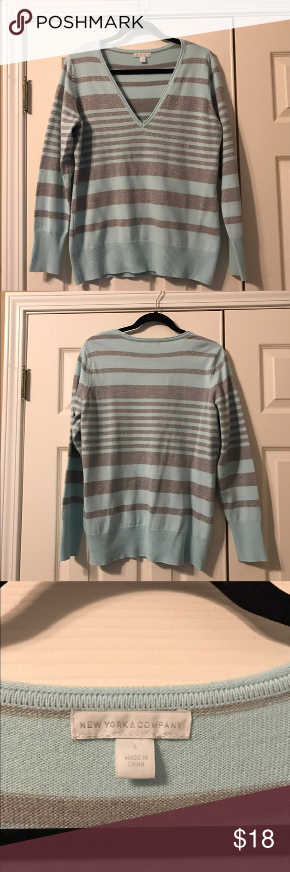 New York & Company V Neck striped sweater, Size L New York & Company V Neck striped sweater, Size Large. Light snowy blue and shimmery silver stripes. Beautiful and very gently worn. 95% Acrylic, 3% Polyester, 2% Metallic. All of my items are from my smoke and pet free home. Please ask any questions and thanks for shopping my closet! ❄️ New York & Company Sweaters V-Necks