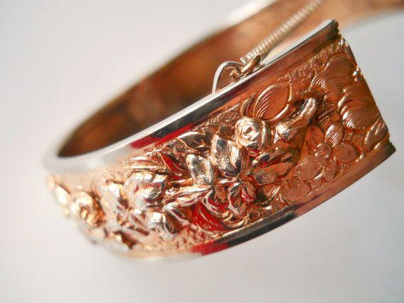 Kramer Hinge Bracelet Rose Gold Vintage Floral by LakeBreezes, $52.00