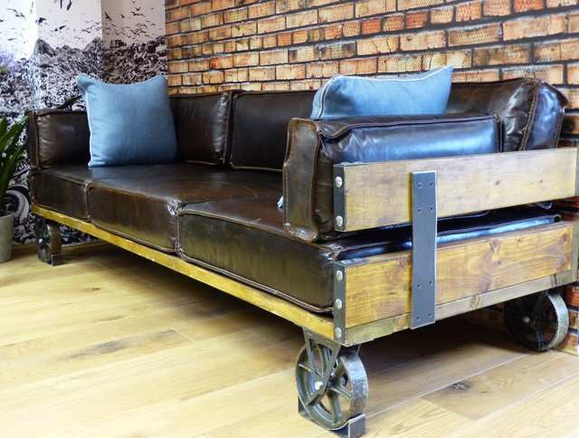 Industrial Sofa Leather Sofa Warehouse Couch Vintage Industrial Furniture Furniture Sofa