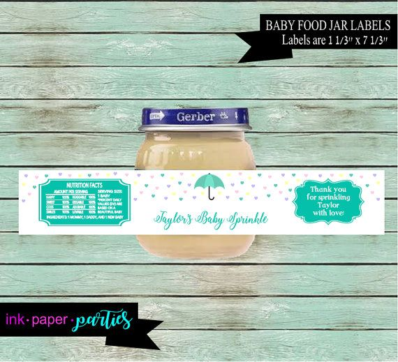 baby shower party favors baby sprinkle baby food jar labels baby