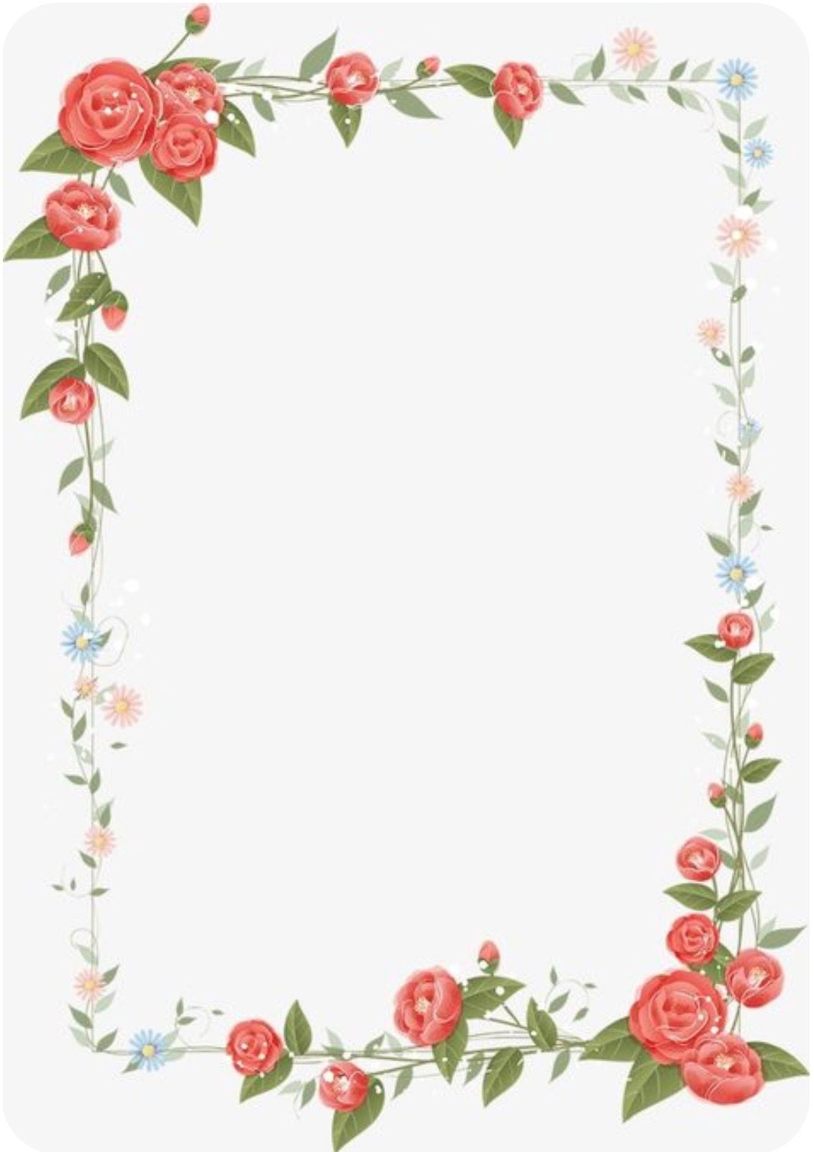 Red Rose Border Floral Border Design Flower Border Png Frame Border Design