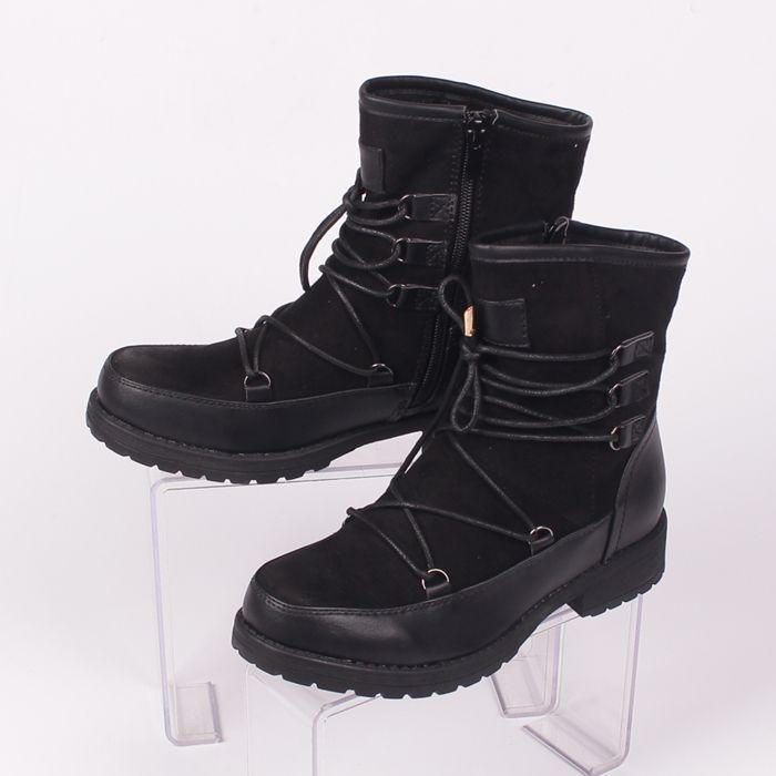 5c73d99ab8d Черни дамски боти, изработени в комбинация от еко-велур и еко-кожа над