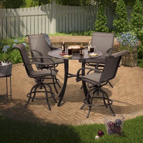 Threshold Camden 5 Piece Sling Balcony Height Patio Dining Set