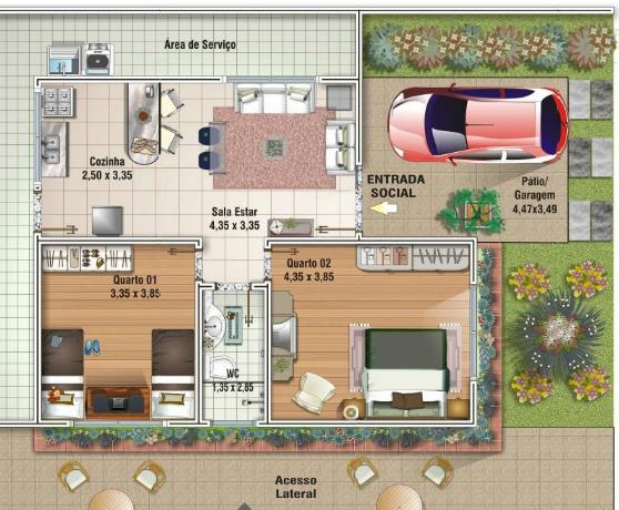 Casas de ate 80 metros quadrados pesquisa google for Casa minimalista 80 metros