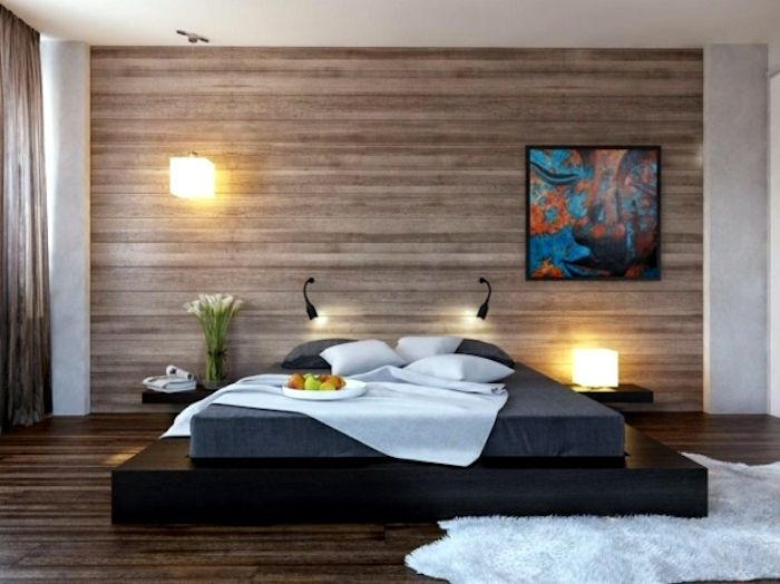 feng shui farben, schlafzimmer in braun, bett, teppich, bild - schlafzimmer nach feng shui einrichten