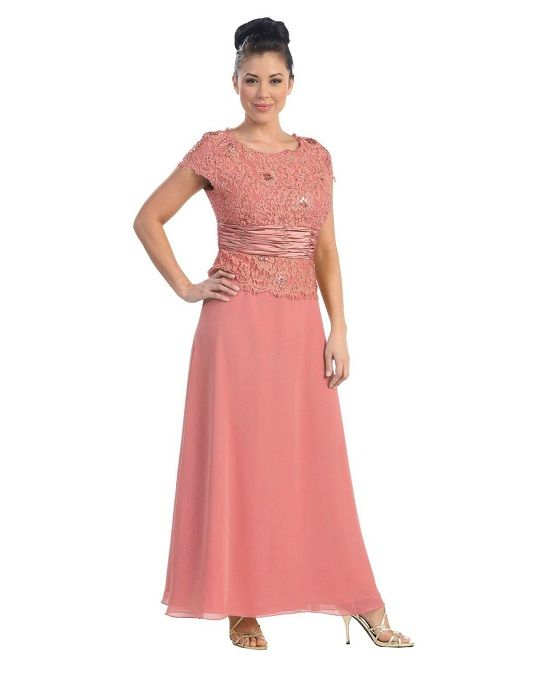 Rose coral plus size mother of the bride dresses with sleeves ...