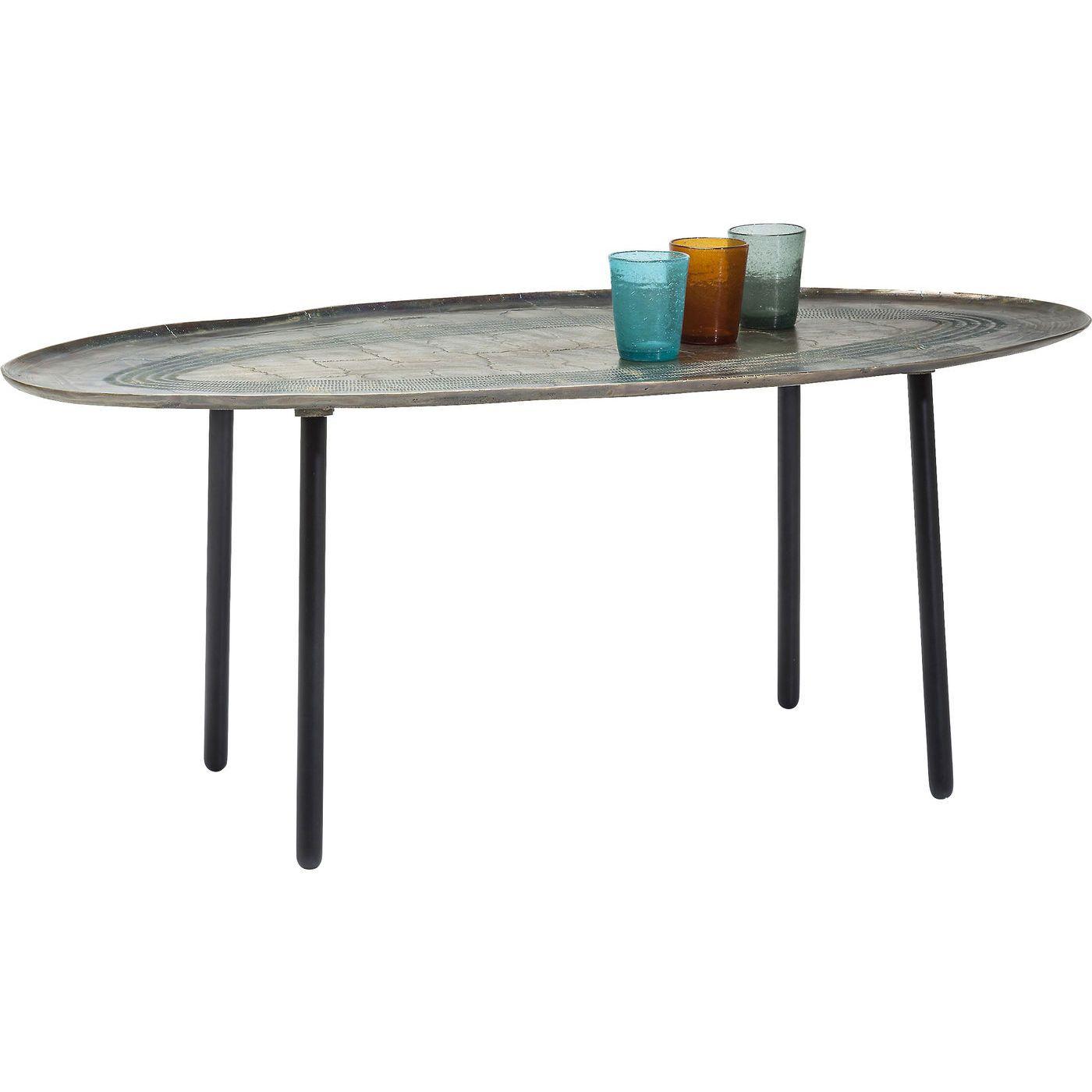 Ovales Vintage Retro Design Der Tisch Berzeugt Durch Seine Metallische Beschichtung Aus Messing Und Ovalen