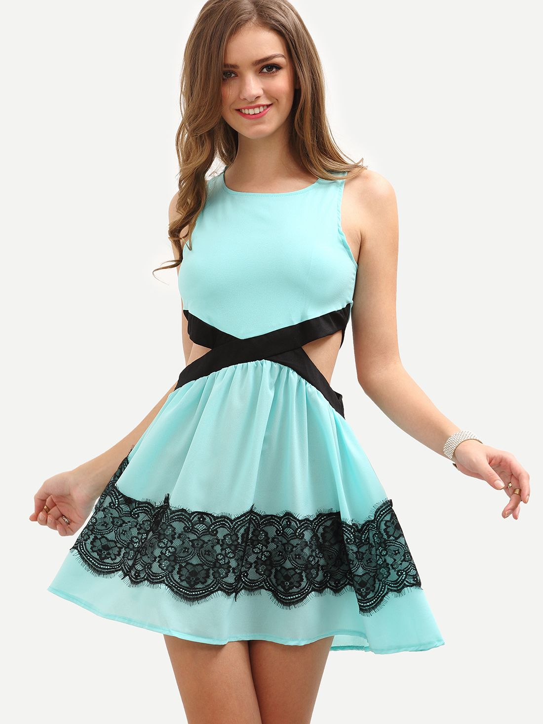 Lace+Applique+Cutout+Sleeveless+Skater+Dress+-+Sky+Blue+16.99