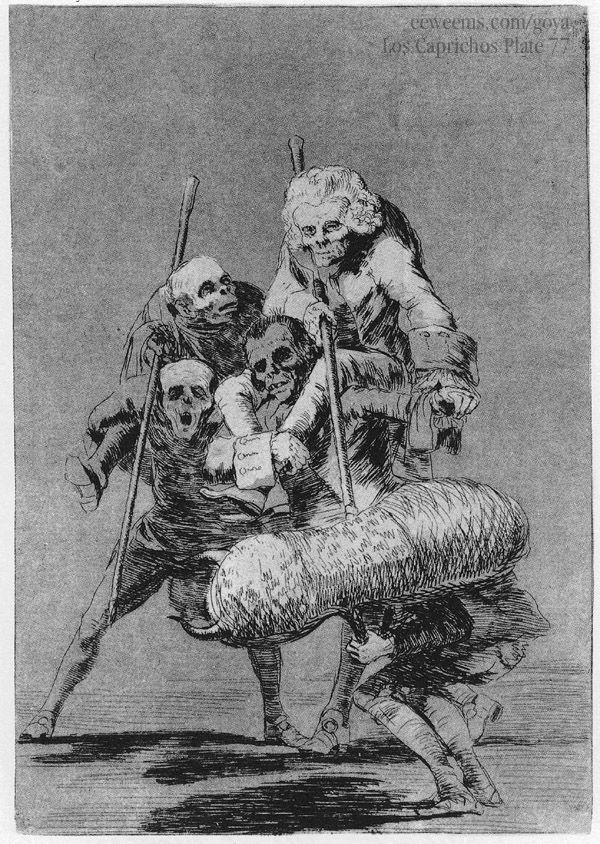 """Francisco de Goya. Los Caprichos, Plate 77, """"Unos à otros,"""" (1799)."""