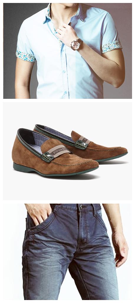 © #FashionTip Una camisa corta sin corbata, jeans y mocasines #PradaMx son ideales para un look informal y fresco.