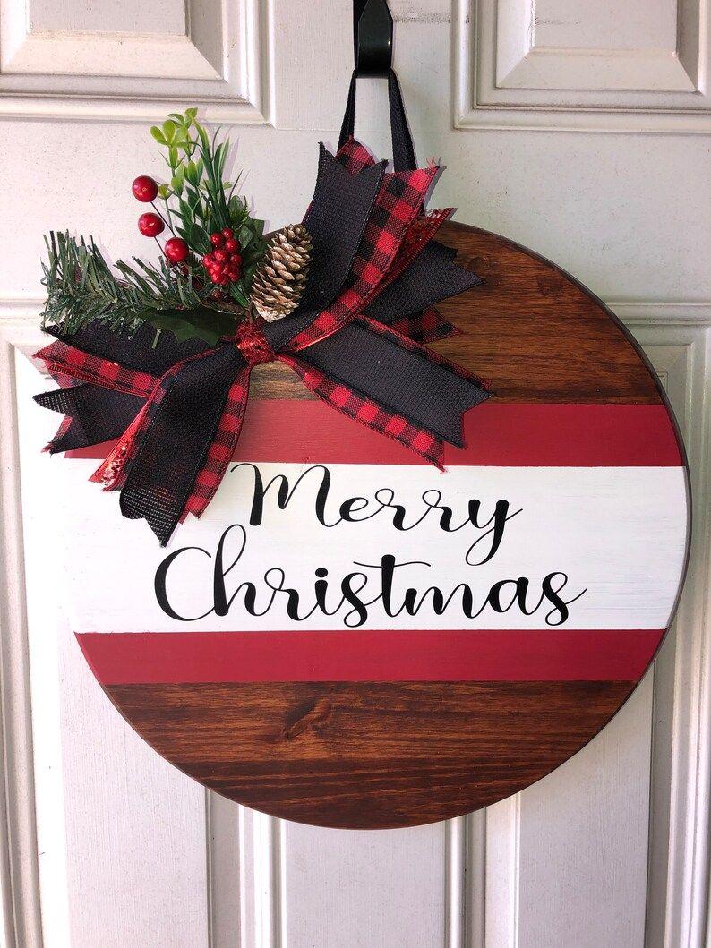 Christmas personalized wooden door hanger