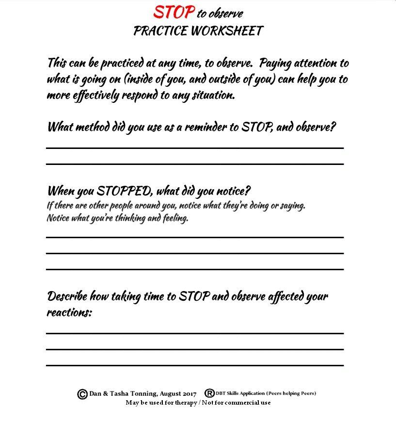 STOPOBSERVE SKILLS DBT Worksheet for httpsfacebook – Dbt Worksheet