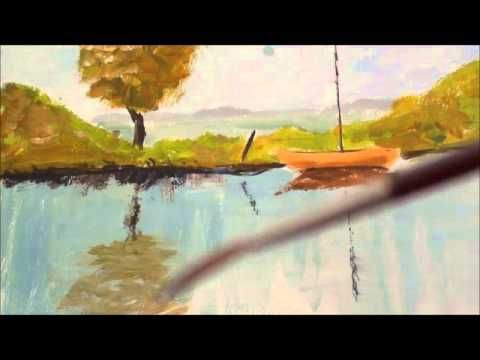 Malen mit Acryl: Stehendes Wasser, Reflektionen - YouTube