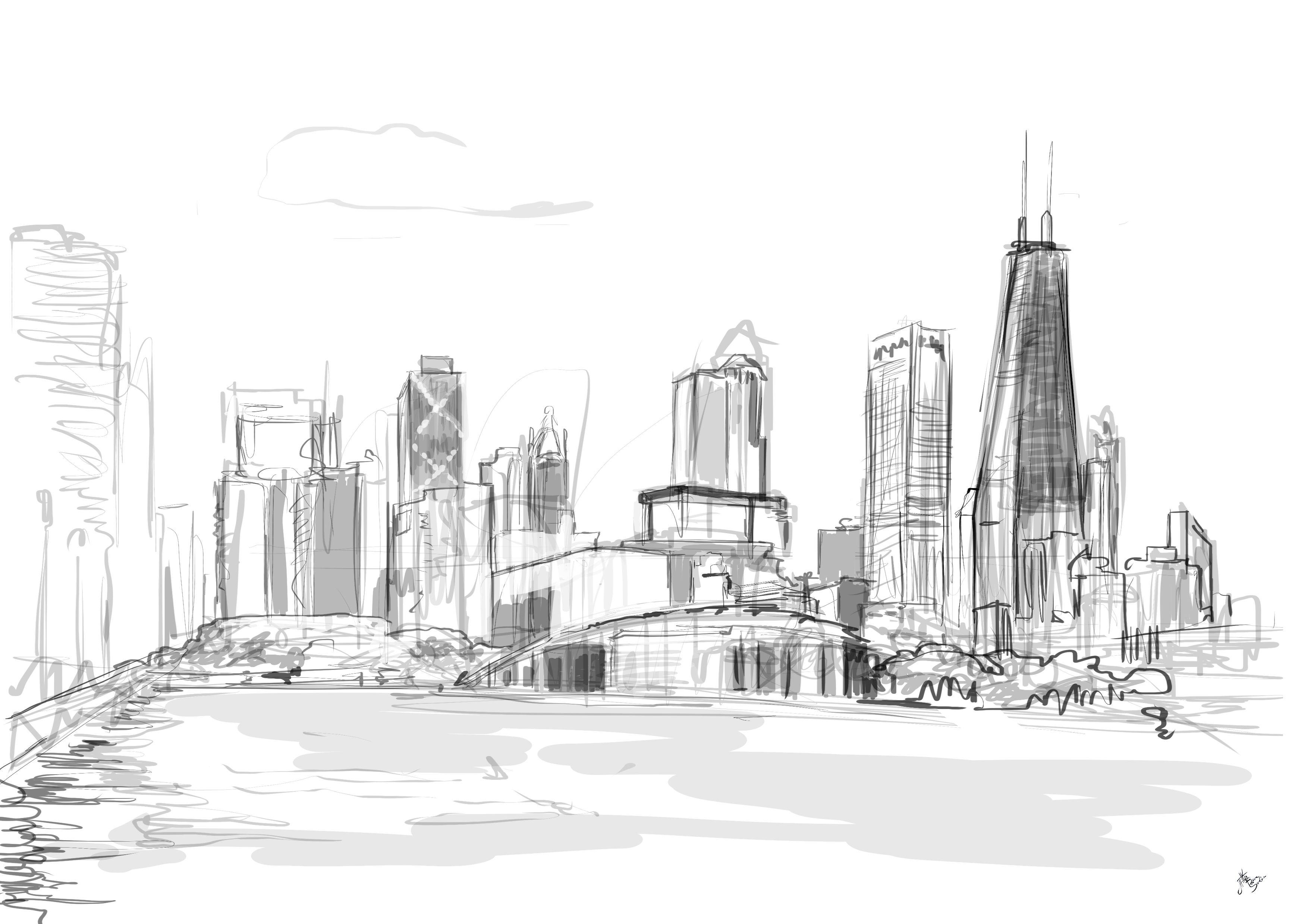 Chicago Art Black White
