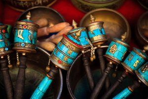 Prayer wheels for sale outside the Tsuglagkhang Complex in McLeod Ganj, which is the official residence of the Dalai Lama.