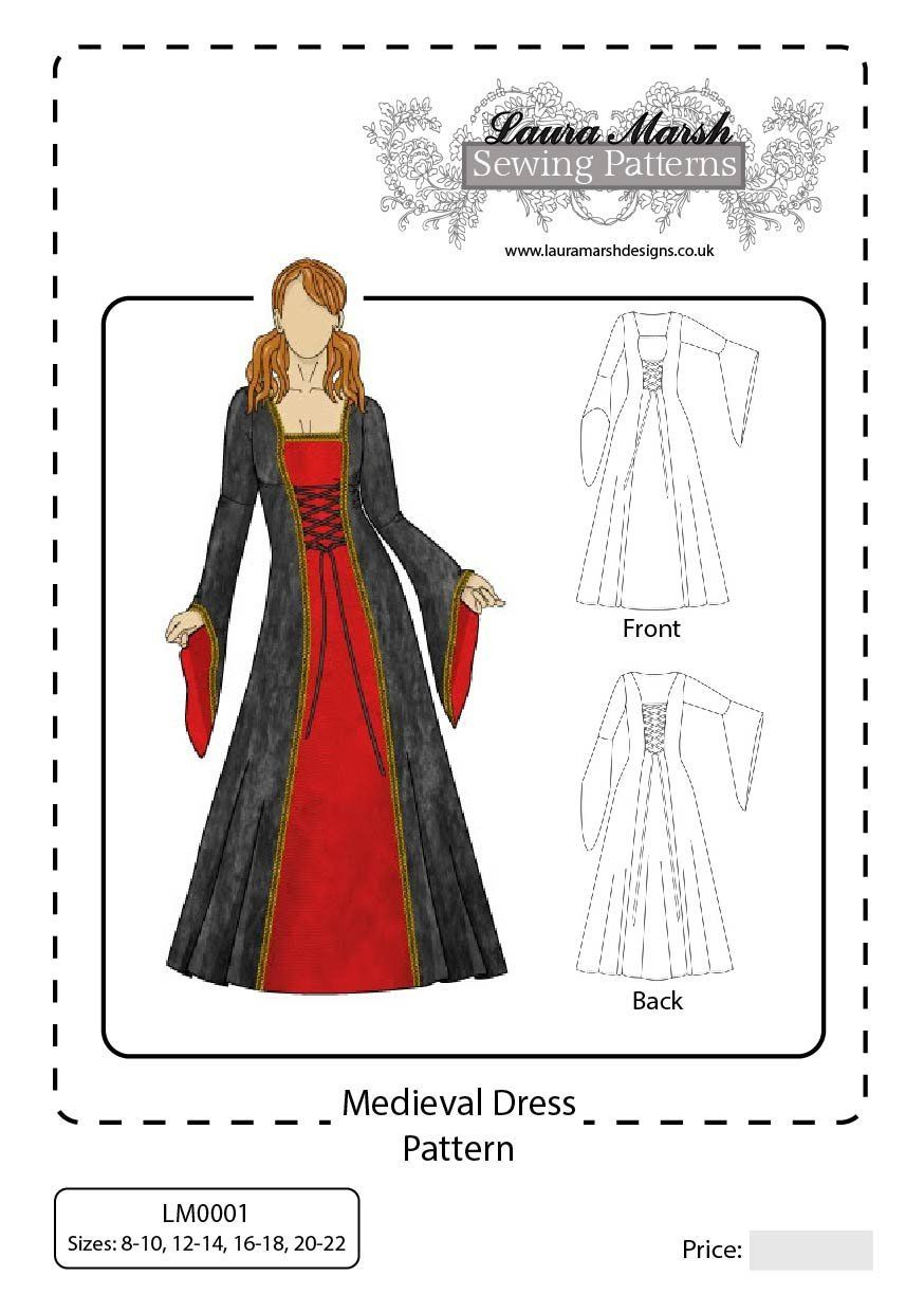 Medieval dress sewing pattern sizes 8 22 lm0001 laura marsh medieval dress sewing pattern sizes 8 22 lm0001 laura marsh designs jeuxipadfo Choice Image