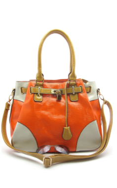 Fabulous orange color block bag!  $60  Facebook.com/sassysatchels